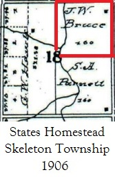 map showing States Homestead Skeleton township in 1906